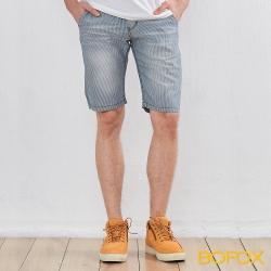 BOFOX 仿牛仔刷色休閒短褲-淺藍