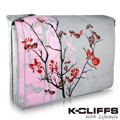 【美國K-CLIFFS】花漾系列側背電腦包(15吋)-粉