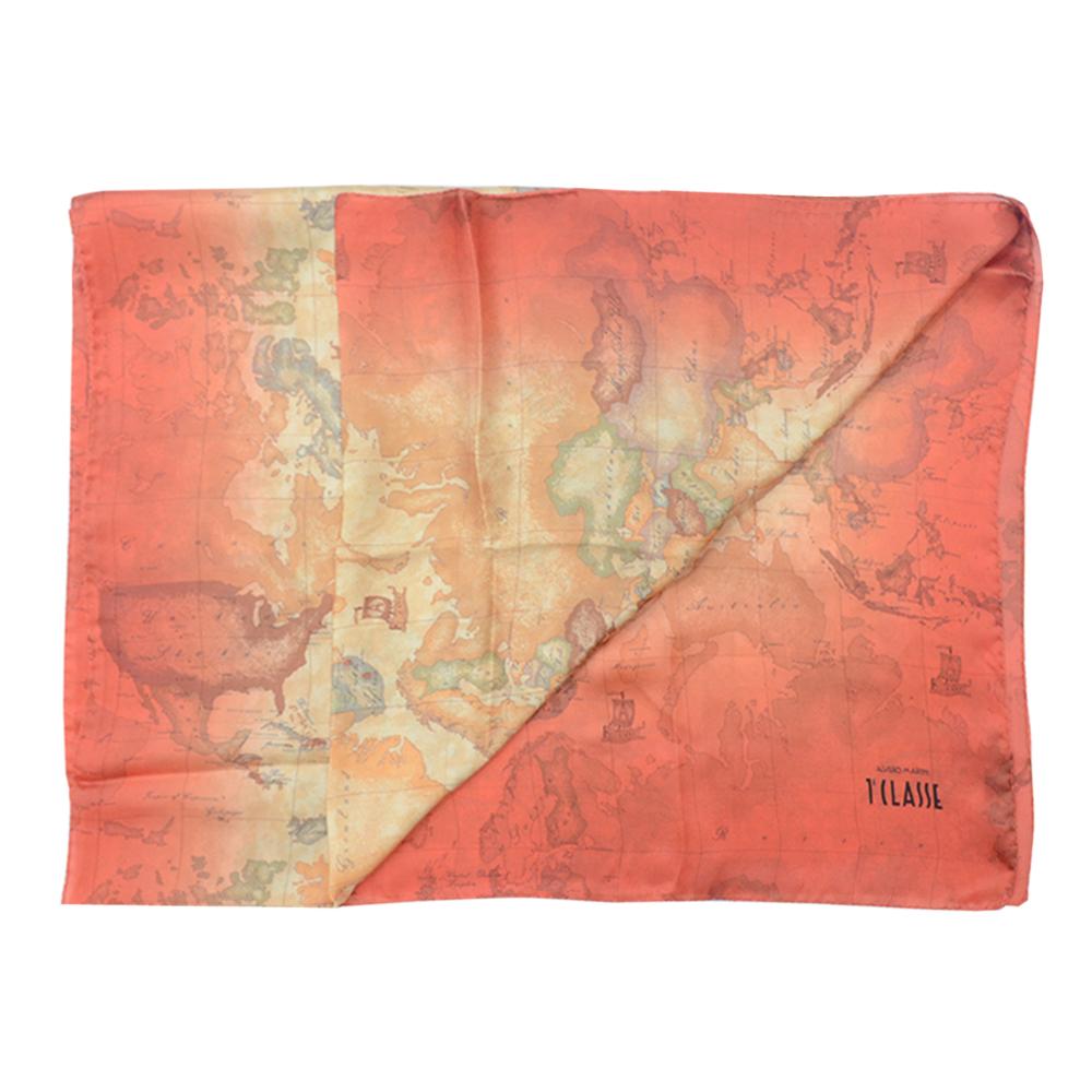 Alviero Martini 義大利地圖 渲染地圖絲巾-橘/地圖黃(70X200)
