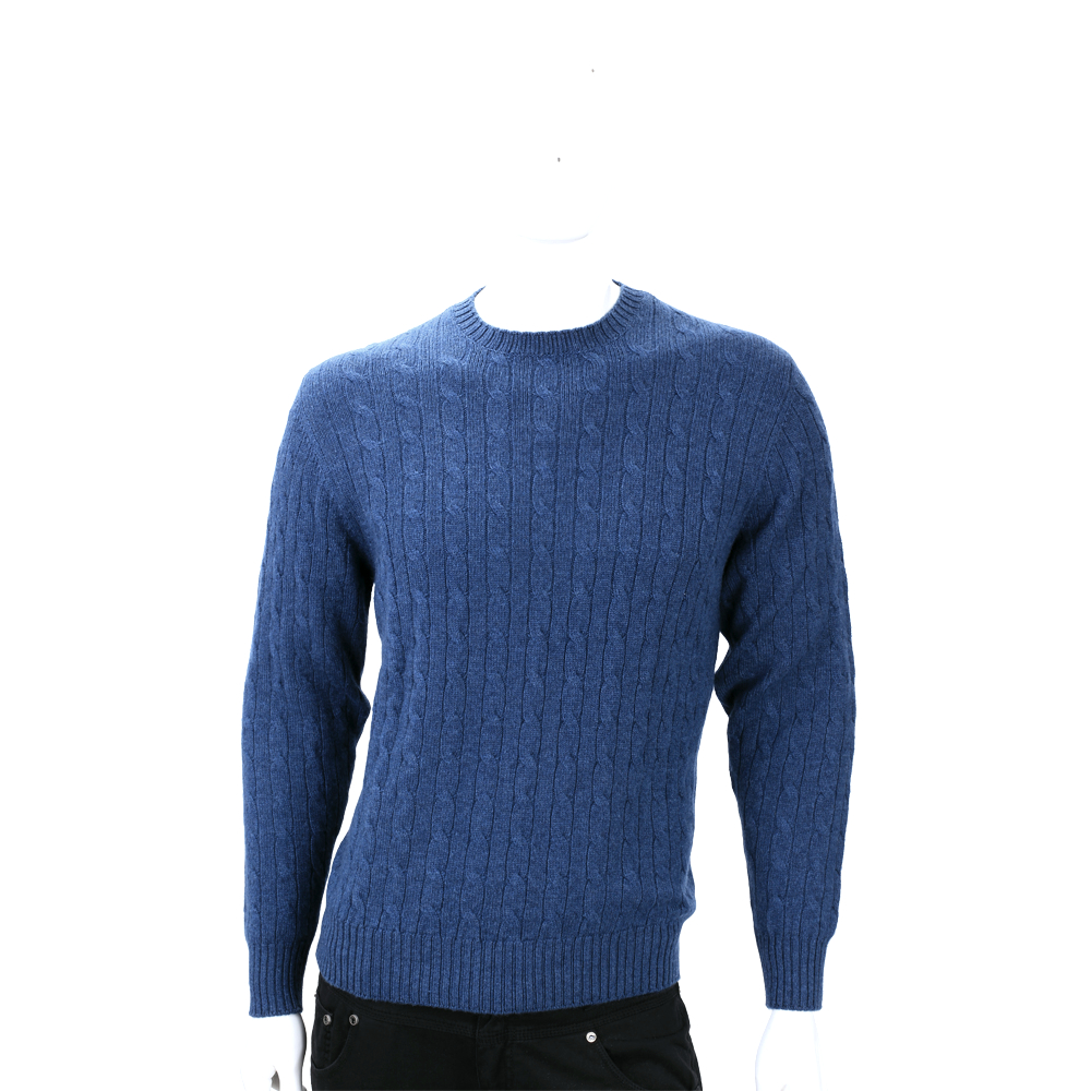 Andre Maurice 藍色麻花針織手肘拼接長袖毛衣(100%CASHMERE)