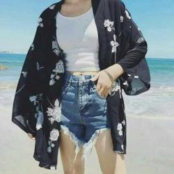 La Belleza民族風沙灘刺繡寬袖雪紡罩衫開襟外套
