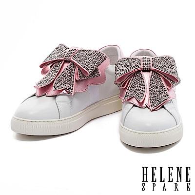 休閒鞋 HELENE SPARK 典雅摩登灰鑽蝴蝶結設計全真皮厚底休閒鞋-粉
