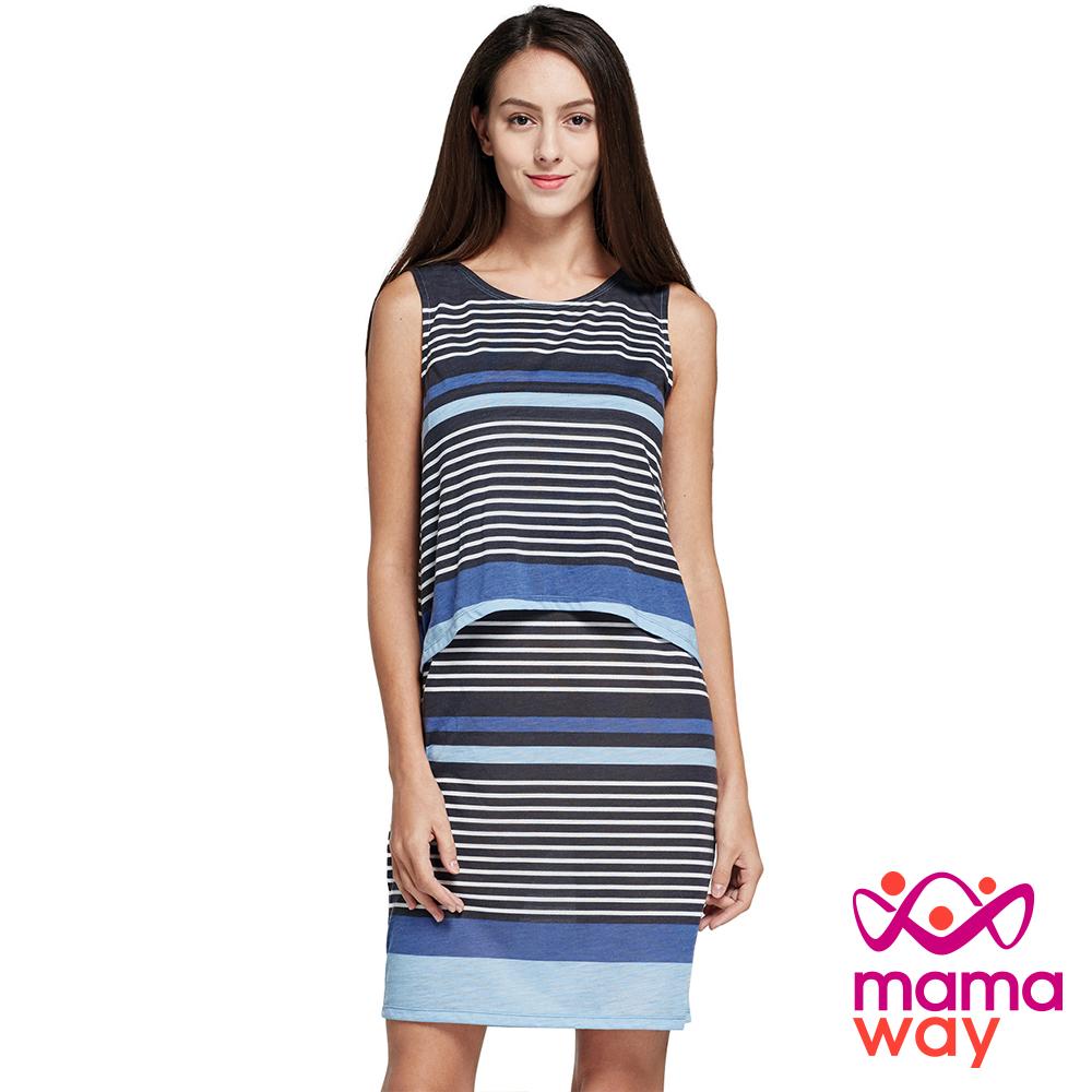 孕婦裝 哺乳衣 橫紋無袖假兩件哺乳洋裝(共二色) Mamaway