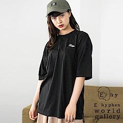 E hyphen 胸前刺繡口袋長版T恤/上衣