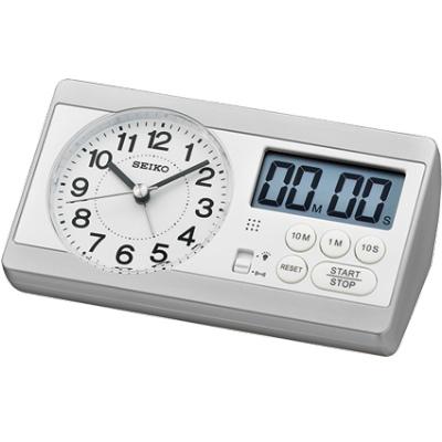 SEIKO 日本精工 滑動式秒針 鬧鐘 桌鐘(QHE152S)-白/16X8.9cm