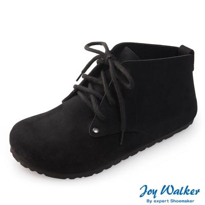 Joy Walker 高筒拼接綁帶包鞋*黑色