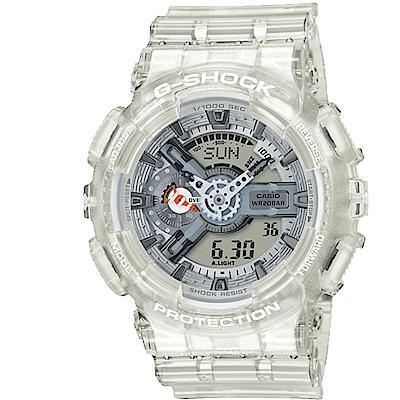 G-SHOCK洋生態設計風格透明果凍色系雙顯運動錶(GA-110CR-7)白/51.2mm