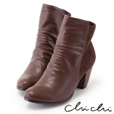 Chichi經典英倫 撞色拼接皮質中筒靴*咖啡色