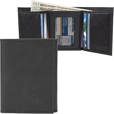 TRAVELON RFID真皮單鈔票層三折短夾(黑)