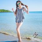 【AngelLuna日本泳裝】平口幾何圖騰短褲四件式比基尼泳衣-深藍