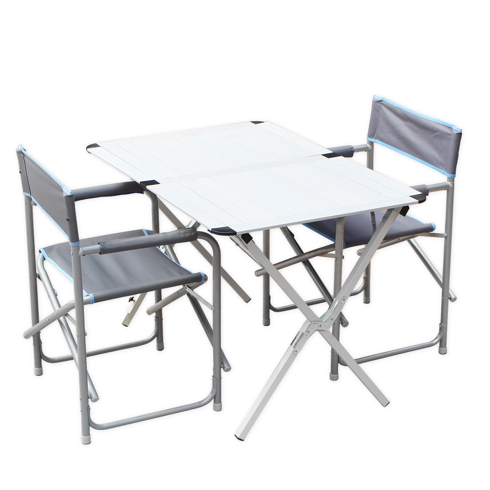 Campart Travel墾旅折疊桌椅組家庭蛋捲桌四人x1導演椅x2