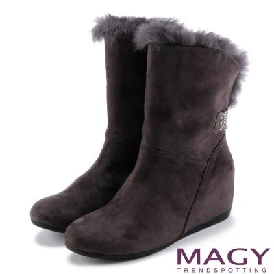 MAGY 柔軟暖呼呼 2WAY絨布內增高長毛內增高短靴-灰色