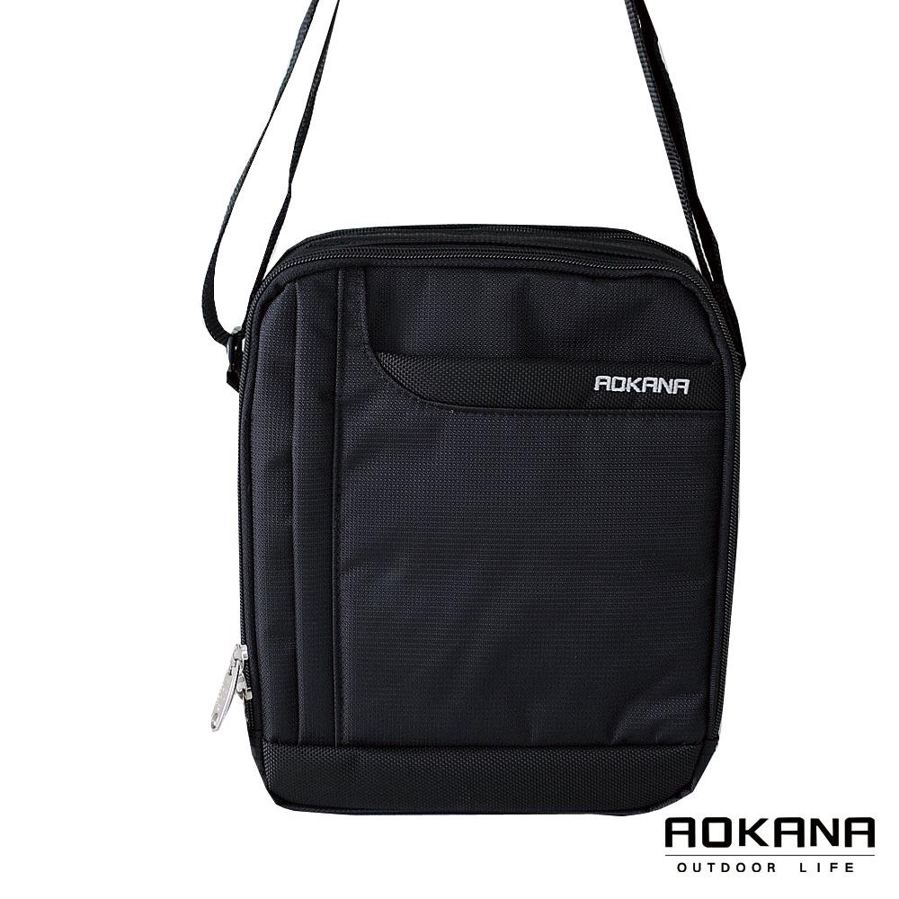 AOKANA奧卡納 台灣製造 YKK拉鍊 中型直立側背包 防潑水休閒(黑)02-001