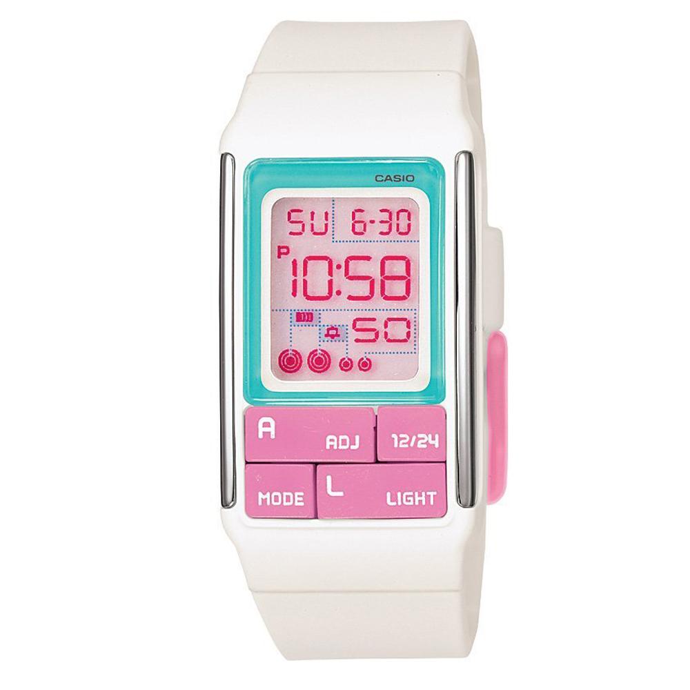 CASIO 太空漫步幾何方塊數字錶(LDF-51-7C)-粉紅按鍵/23.6mm