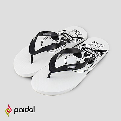 Paidal海盜骷顱圖騰人字拖海灘拖夾腳拖鞋-白