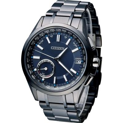 (無卡分期12期)CITIZEN 星辰 光動能鈦感光衛星計時腕錶(CC3015-57L)-藍色
