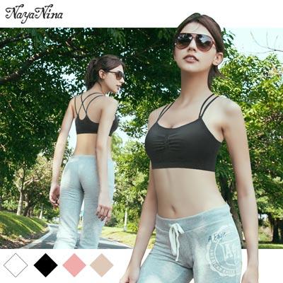 運動內衣-無鋼圈-雙肩帶編織美背M-L-黑-Naya-Nina