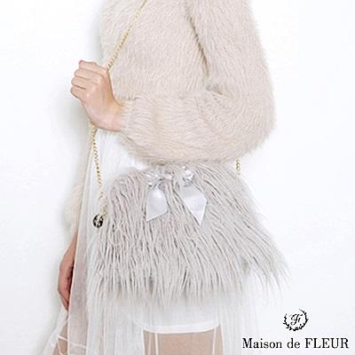 Maison de FLEUR  蝴蝶結絲帶毛海鍊條側背包