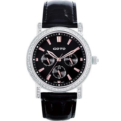 GOTO 天使的溫柔全日曆晶鑽腕錶-黑x玫瑰金時標/40.5mm