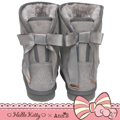 HELLO KITTY X Ann'S皇家緞帶刺繡真皮雪靴禮盒-灰