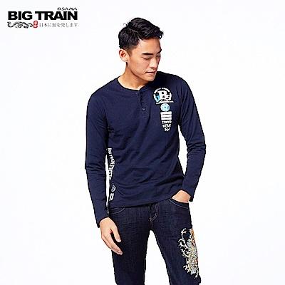 BIG TRAIN 軍事街頭半開襟長袖T-男-深藍