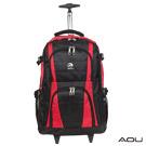 AOU微笑旅行 輕量經典款 可收納筆電 拉桿式雙肩後背包(紅)26-001