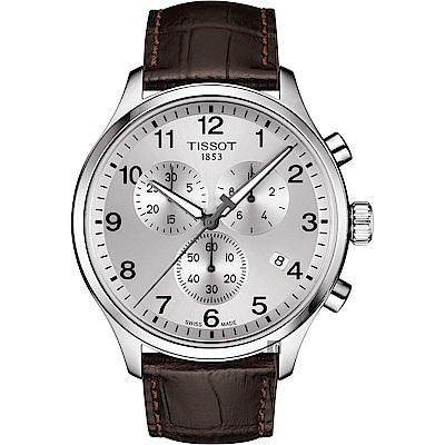 TISSOT天梭 韻馳系列 Chrono XL計時手錶-銀x咖啡/45mm