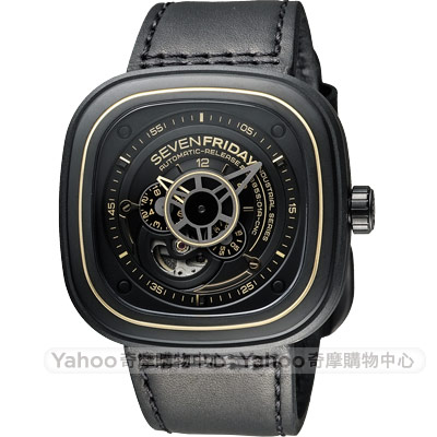SEVENFRIDAY P2-2 解構世界自動上鍊機械錶-黑/47mm