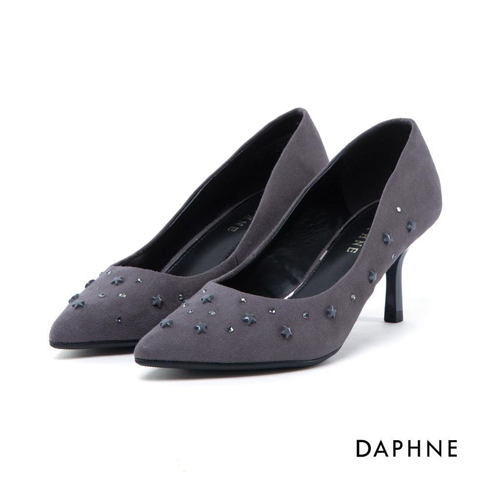 達芙妮DAPHNE 高跟鞋-立體星星水鑽絨面高跟鞋-灰