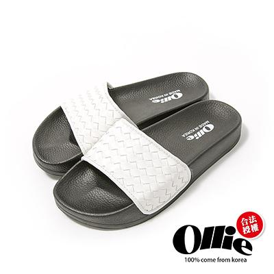 Ollie韓國空運-正韓製皮革素色編織厚底涼鞋-白