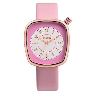 Watch-123 水漾青春-清雅脫俗纖巧方形美手錶-粉紅色/36x39mm