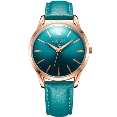 JULIUS 聚利時 微星綻耀彎針設計皮帶腕錶-孔雀綠/39mm