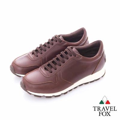 Travel Fox (男)- 光采 全牛皮都會慢跑運動鞋- 咖