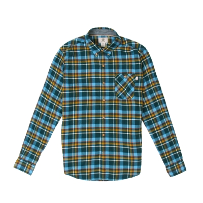 Timberland 男款藍色法蘭絨粗格紋長袖襯衫