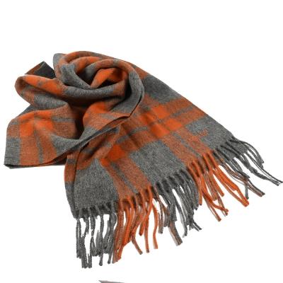 COACH 鬚鬚格紋造型長型羊毛圍巾(灰/橘)COACH