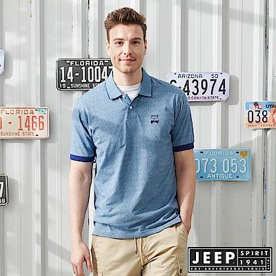 JEEP 品牌經典素面短袖POLO衫-藍