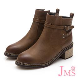 JMS-魅力精選後交叉釦帶拉鍊短靴