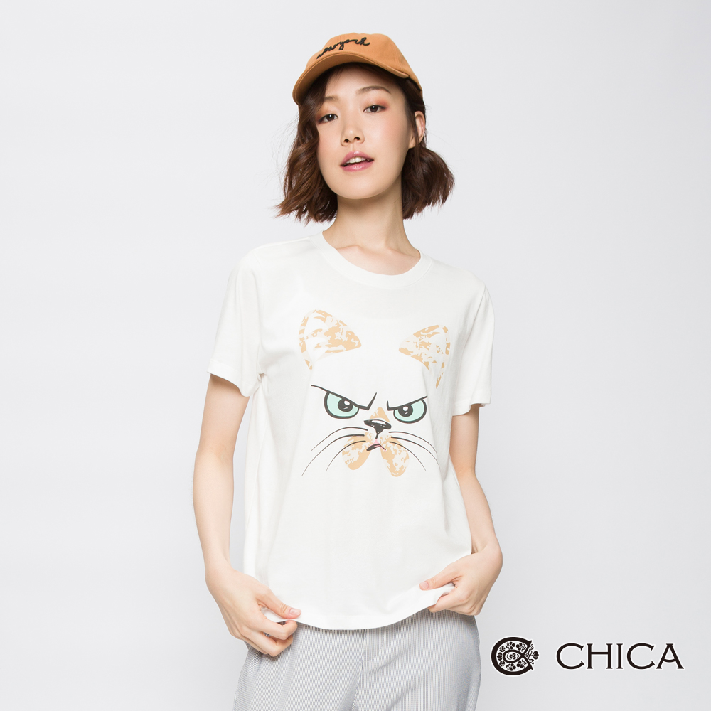 CHICA 搖滾靈魂貓臉圖騰設計上衣(3色)