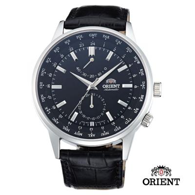 ORIENT 東方錶 WORLD TIME系列 世界時間機械錶-黑色/43.5m