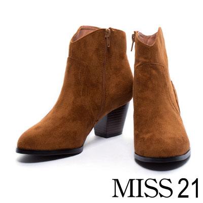 踝靴 MISS 21 經典西部牛仔粗跟踝靴-棕