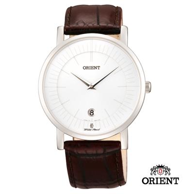 ORIENT 東方錶 SLIM系列 超薄簡約優雅阿拉伯數字藍寶石鏡面石英錶-白色/38mm