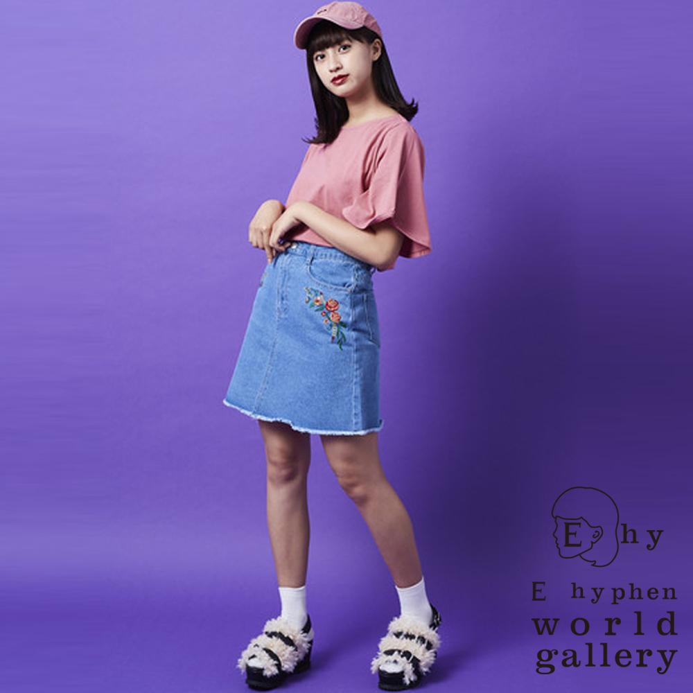 E hyphen玫瑰刺繡口袋牛仔裙