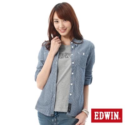 EDWIN 點點牛津襯衫-女-藍色