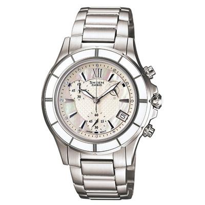 CASIO SHEEN系列 極光盛宴都會陶瓷晶鑽腕錶(白)-35mm