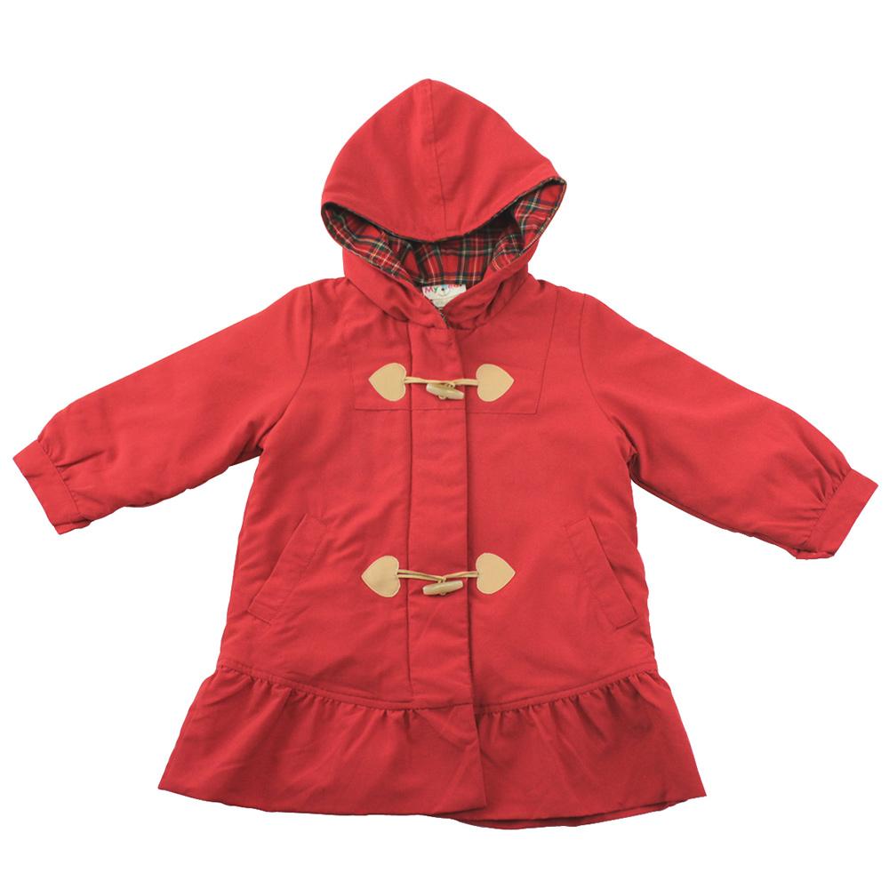愛的世界 MYBEAR 保暖舖棉口袋裙襬連帽外套/4-6歲-台灣製-