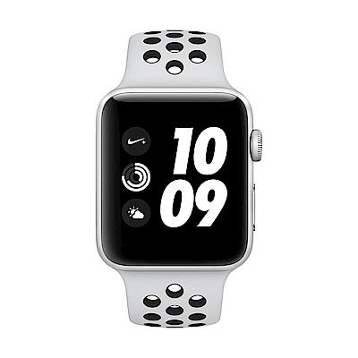 Apple Watch Nike+ GPS,42mm銀色鋁金屬配黑色Nike運動型錶帶