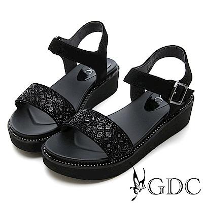 GDC-真皮花朵簍空水鑽涼鞋-黑色