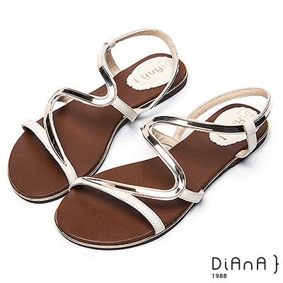 DIANA 簡約韓風--金屬S曲線細帶平底涼鞋 –米