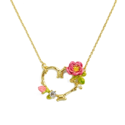 Les Nereides 春暖花開系列 浪漫可愛甜美愛心粉嫩花朵水鑽項鍊