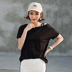 La Belleza單邊交叉肩帶小口袋寬版棉T